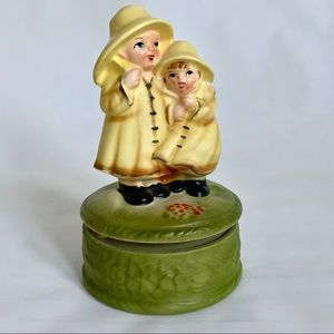 Vintage Japan Music Box Hummel Style Boy and Girl